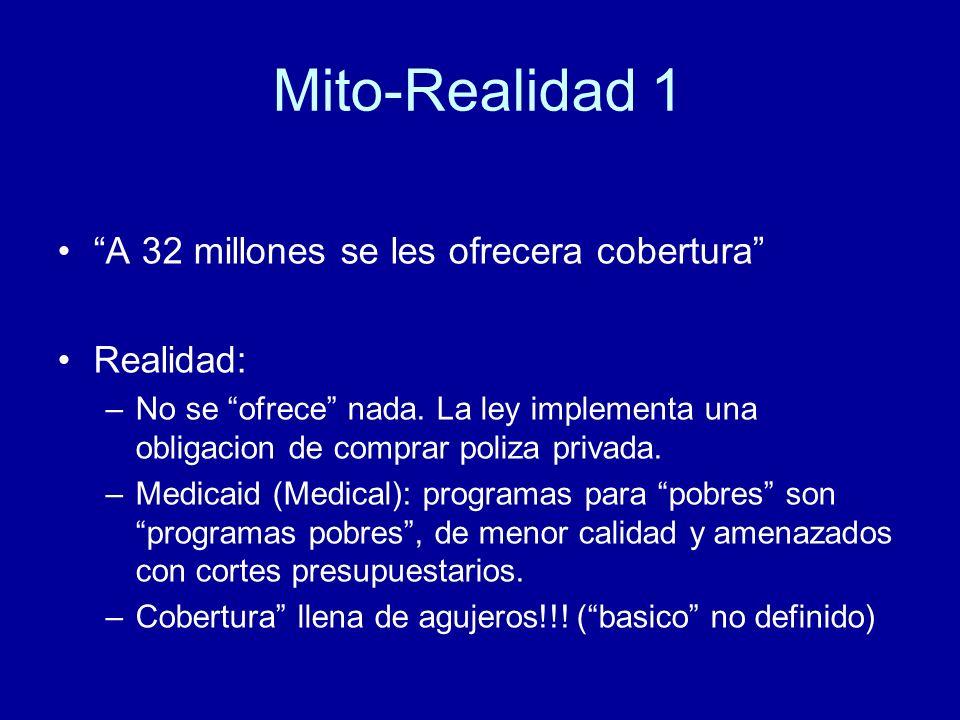 Mito-Realidad 1 A 32 millones se les ofrecera cobertura Realidad: –No se ofrece nada.
