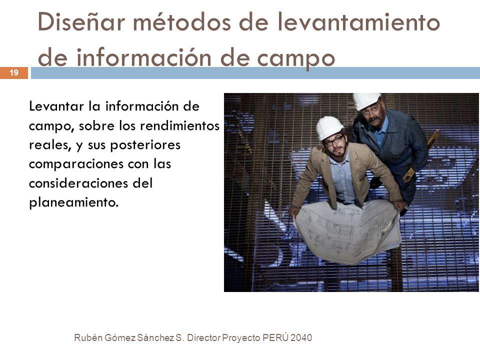 Diseñar métodos de levantamiento de información de campo Levantar la información de campo, sobre los rendimientos reales, y sus posteriores comparacio