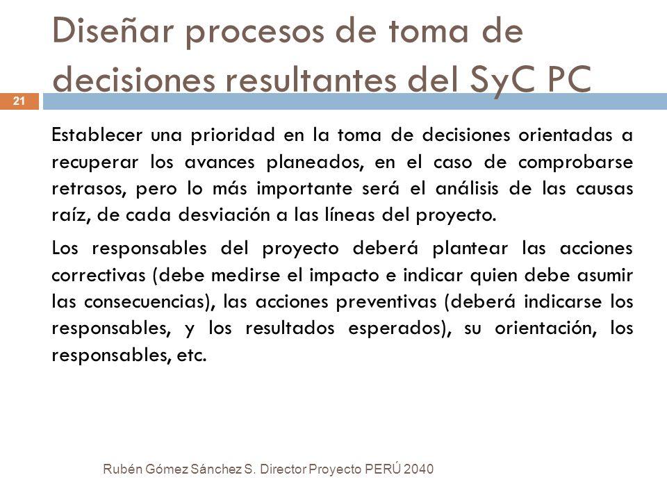 Diseñar procesos de toma de decisiones resultantes del SyC PC Establecer una prioridad en la toma de decisiones orientadas a recuperar los avances pla
