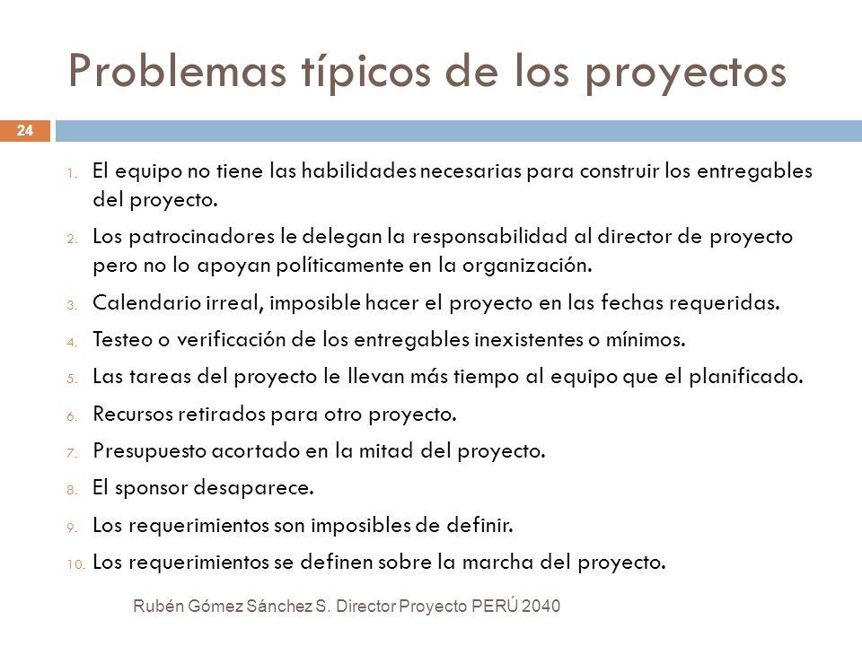Problemas típicos de los proyectos Rubén Gómez Sánchez S. Director Proyecto PERÚ 2040 24 1. El equipo no tiene las habilidades necesarias para constru
