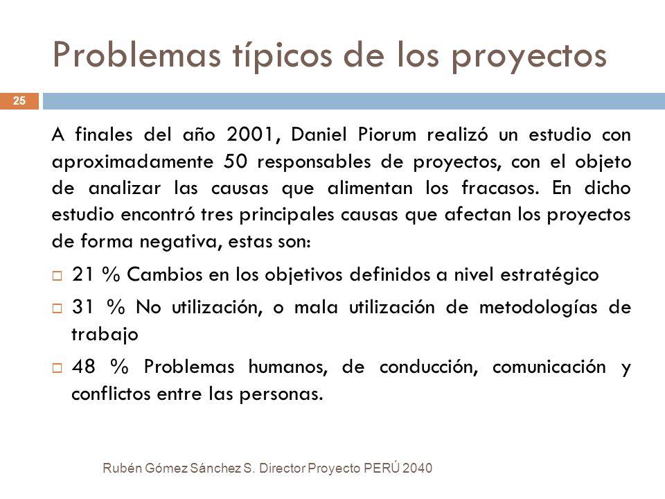 Problemas típicos de los proyectos Rubén Gómez Sánchez S. Director Proyecto PERÚ 2040 25 A finales del año 2001, Daniel Piorum realizó un estudio con