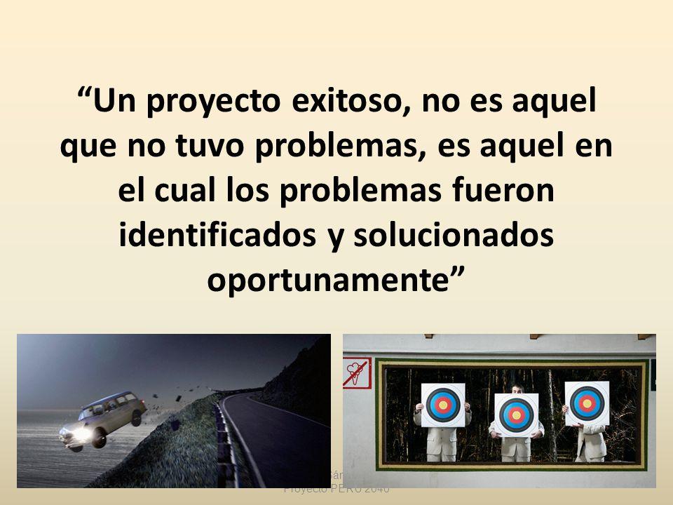 Un proyecto exitoso, no es aquel que no tuvo problemas, es aquel en el cual los problemas fueron identificados y solucionados oportunamente Rubén Góme