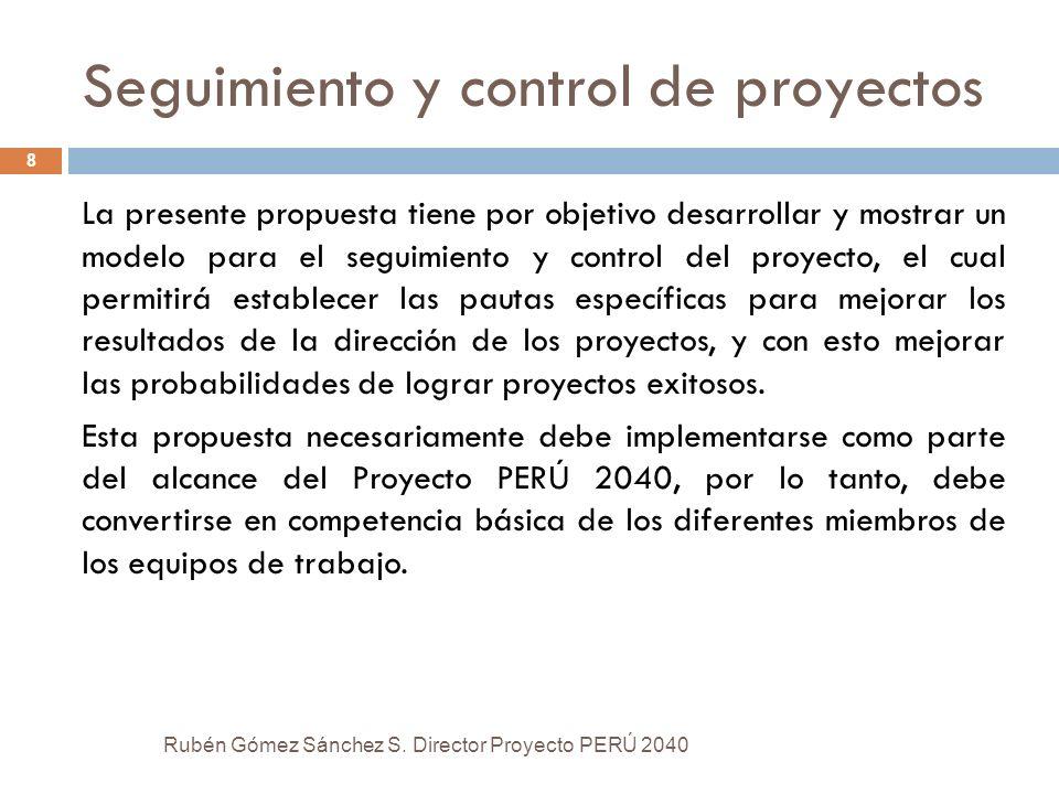 Seguimiento y control de proyectos La presente propuesta tiene por objetivo desarrollar y mostrar un modelo para el seguimiento y control del proyecto
