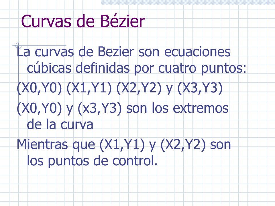 Curvas de Bézier La curvas de Bezier son ecuaciones cúbicas definidas por cuatro puntos: (X0,Y0) (X1,Y1) (X2,Y2) y (X3,Y3) (X0,Y0) y (x3,Y3) son los e