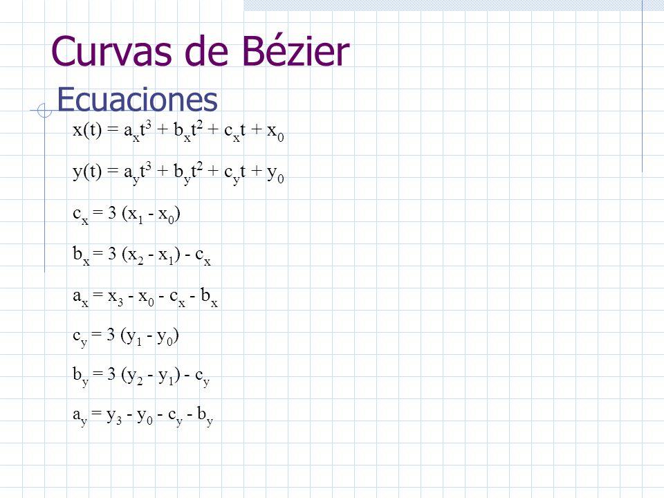 Curvas de Bézier Ecuaciones x(t) = a x t 3 + b x t 2 + c x t + x 0 y(t) = a y t 3 + b y t 2 + c y t + y 0 c x = 3 (x 1 - x 0 ) b x = 3 (x 2 - x 1 ) - c x a x = x 3 - x 0 - c x - b x c y = 3 (y 1 - y 0 ) b y = 3 (y 2 - y 1 ) - c y a y = y 3 - y 0 - c y - b y