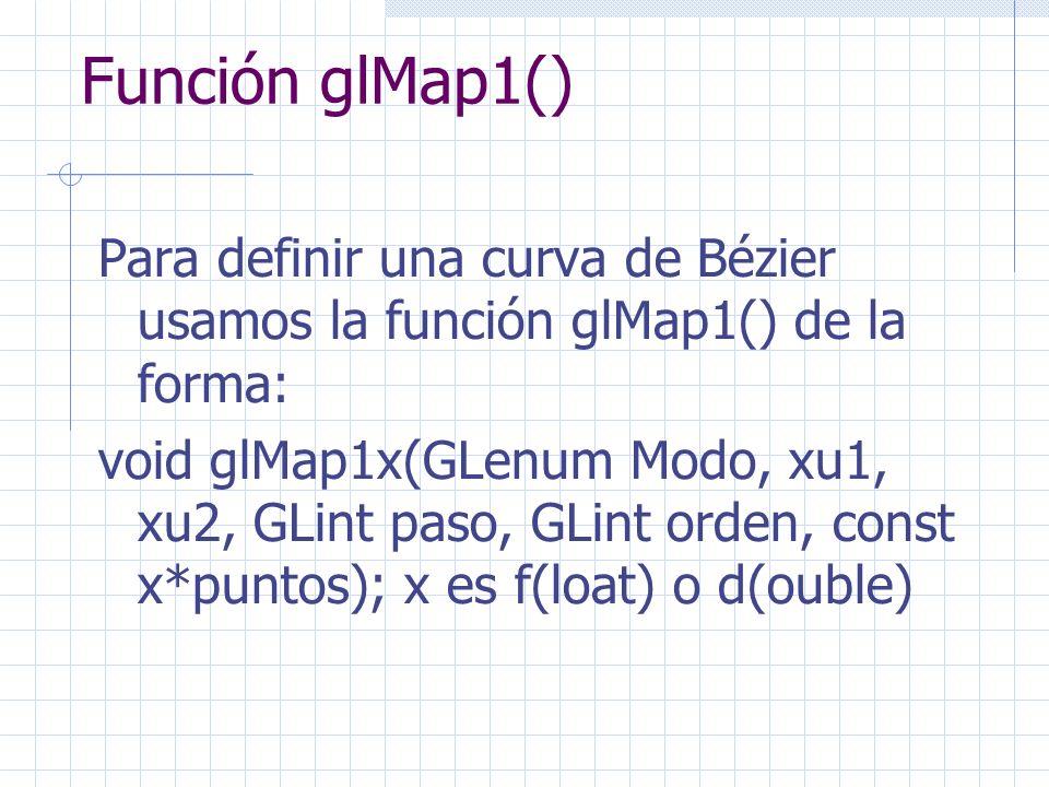 Función glMap1() Para definir una curva de Bézier usamos la función glMap1() de la forma: void glMap1x(GLenum Modo, xu1, xu2, GLint paso, GLint orden,