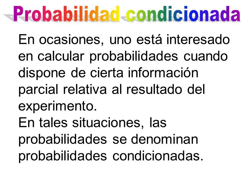 En ocasiones, uno está interesado en calcular probabilidades cuando dispone de cierta información parcial relativa al resultado del experimento. En ta