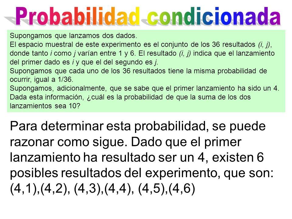 Para determinar esta probabilidad, se puede razonar como sigue. Dado que el primer lanzamiento ha resultado ser un 4, existen 6 posibles resultados de
