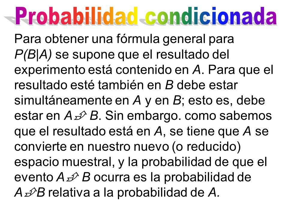 Para obtener una fórmula general para P(B|A) se supone que el resultado del experimento está contenido en A. Para que el resultado esté también en B d