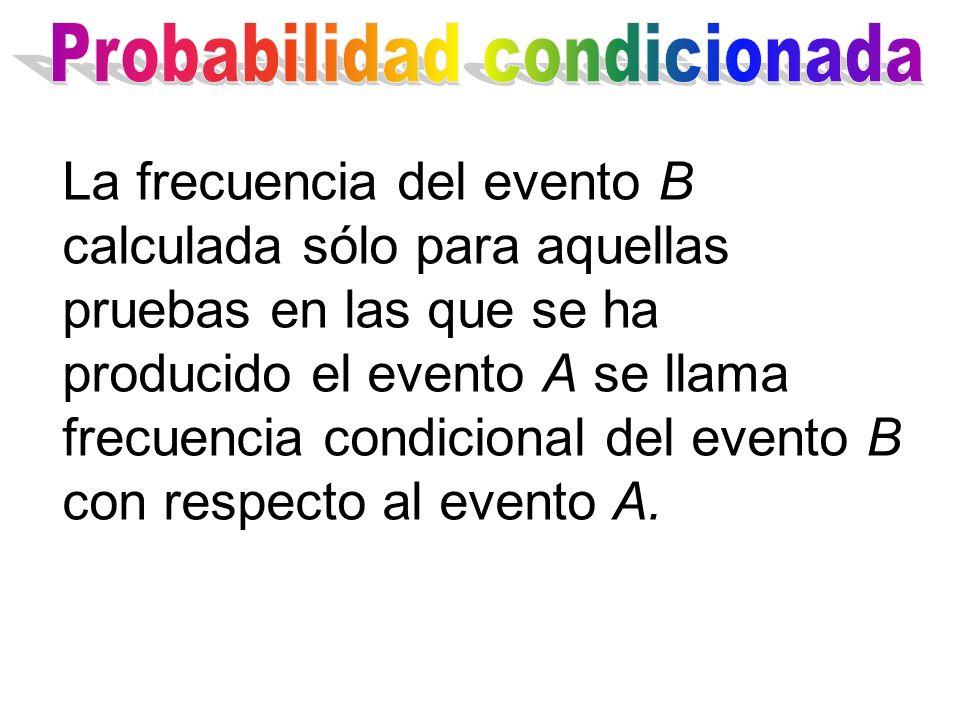 La frecuencia del evento B calculada sólo para aquellas pruebas en las que se ha producido el evento A se llama frecuencia condicional del evento B co