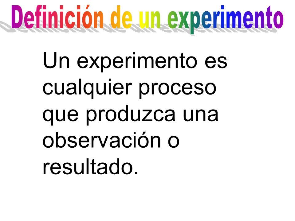 Un experimento es cualquier proceso que produzca una observación o resultado.