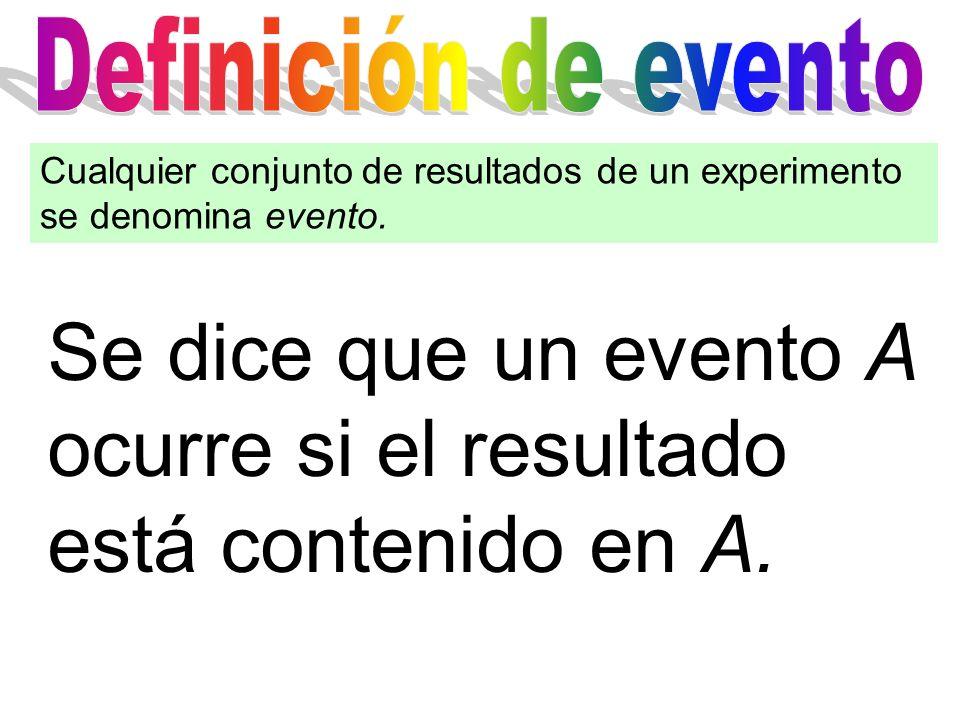 Cualquier conjunto de resultados de un experimento se denomina evento. Se dice que un evento A ocurre si el resultado está contenido en A.