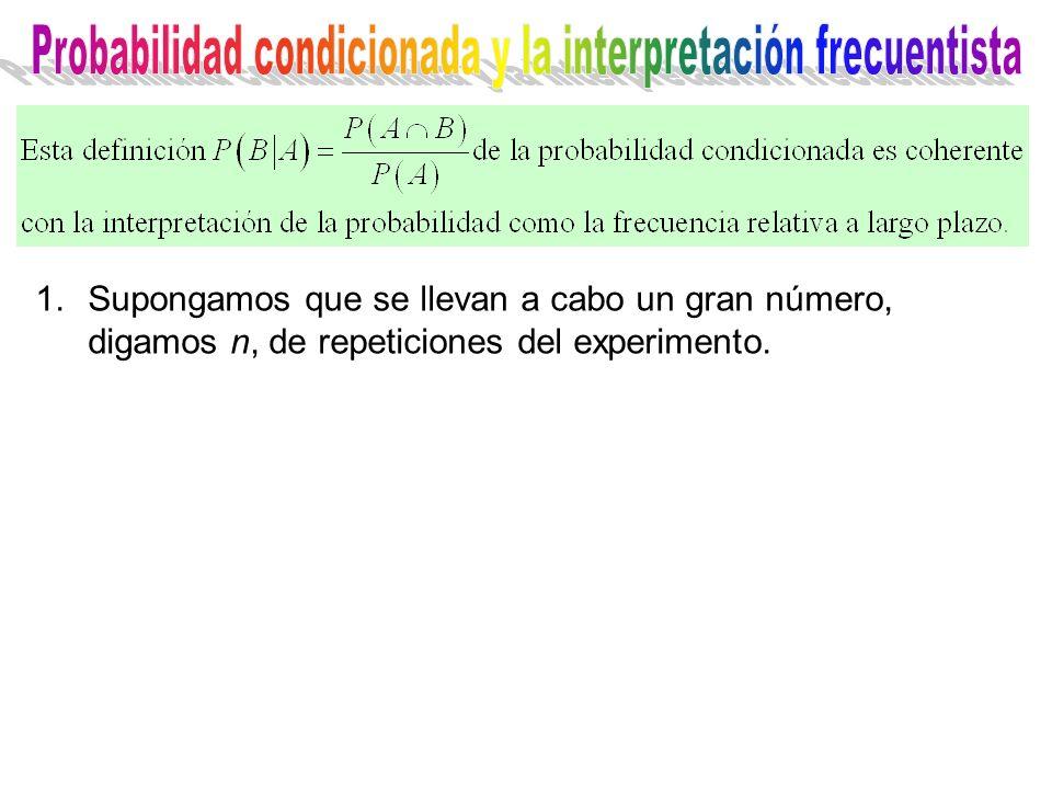 1.Supongamos que se llevan a cabo un gran número, digamos n, de repeticiones del experimento.