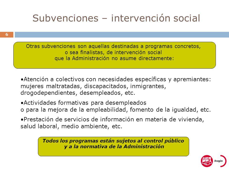 Subvenciones – intervención social 6 Atención a colectivos con necesidades específicas y apremiantes: mujeres maltratadas, discapacitados, inmigrantes, drogodependientes, desempleados, etc.