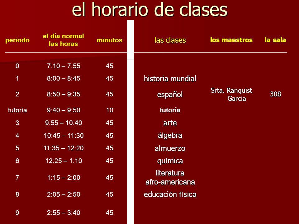 el horario de clases periodo el día normal las horas minutos las clases los maestrosla sala 07:10 – 7:5545 18:00 – 8:4545 historia mundial 28:50 – 9:3