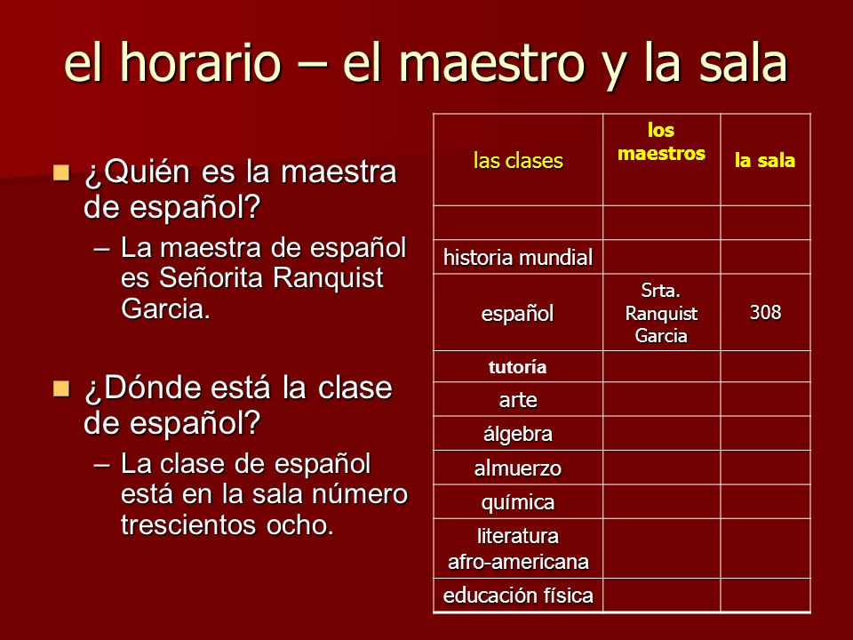 el horario – el maestro y la sala ¿Quién es la maestra de español? ¿Quién es la maestra de español? –La maestra de español es Señorita Ranquist Garcia