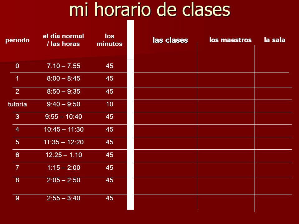 mi horario de clases periodo el día normal / las horas los minutos las clases los maestrosla sala 07:10 – 7:5545 18:00 – 8:4545 28:50 – 9:3545 tutoría