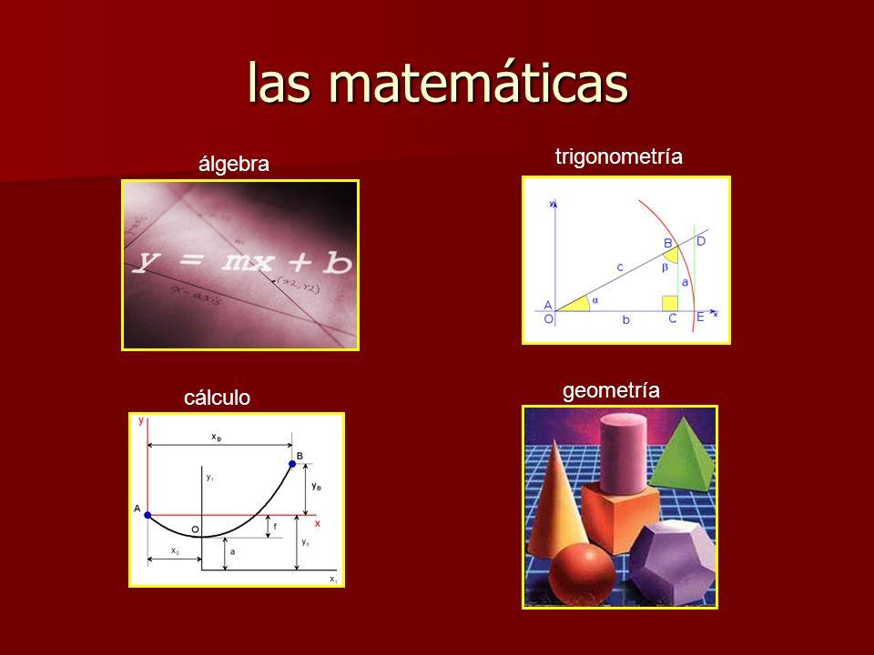 las matemáticas álgebra cálculo trigonometría geometría