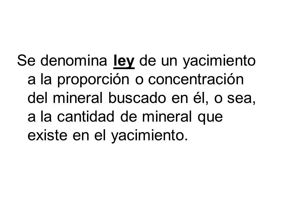 Se denomina ley de un yacimiento a la proporción o concentración del mineral buscado en él, o sea, a la cantidad de mineral que existe en el yacimient