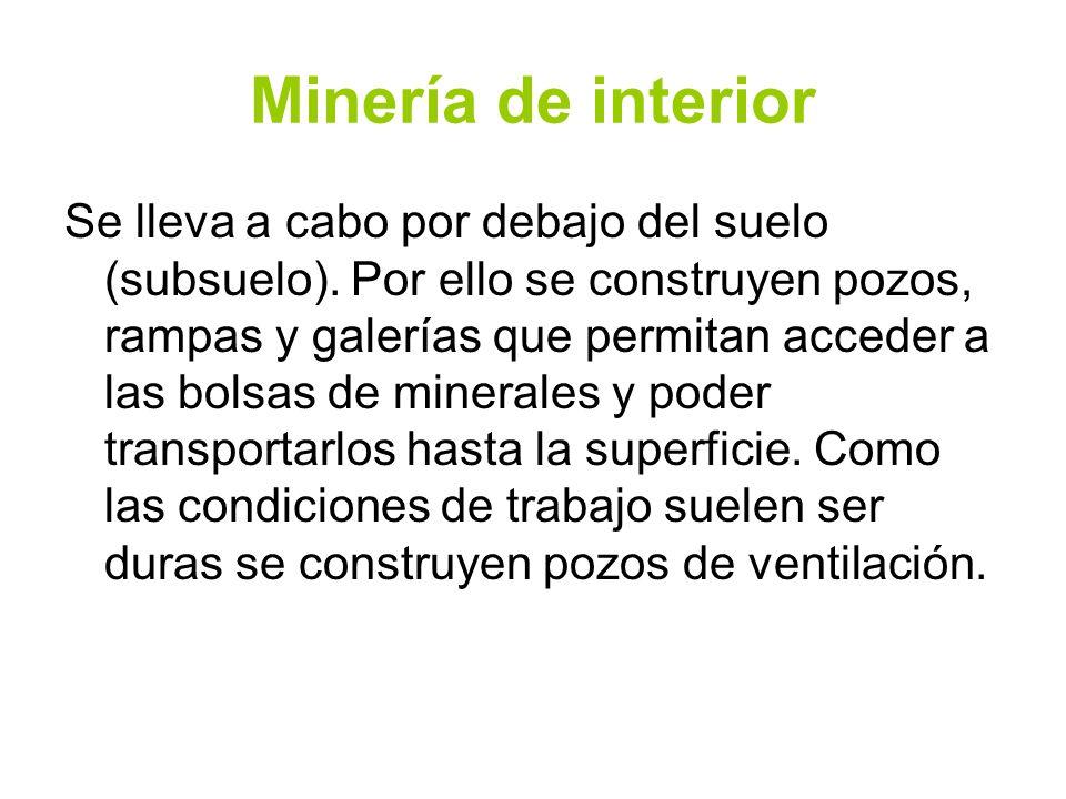 Minería de interior Se lleva a cabo por debajo del suelo (subsuelo). Por ello se construyen pozos, rampas y galerías que permitan acceder a las bolsas