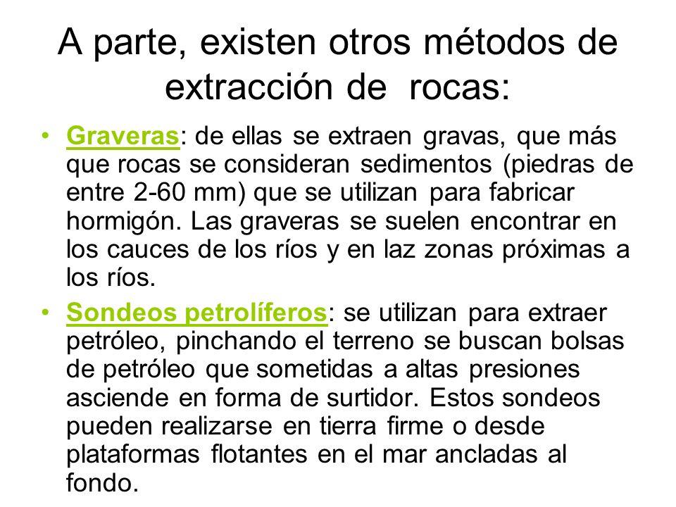A parte, existen otros métodos de extracción de rocas: Graveras: de ellas se extraen gravas, que más que rocas se consideran sedimentos (piedras de en