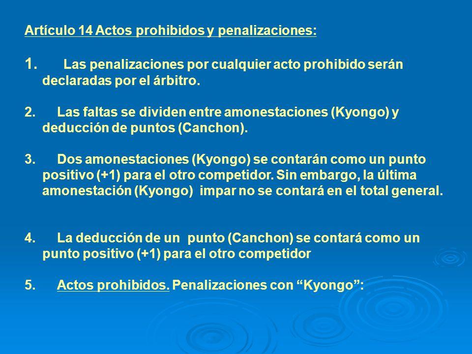 5.1 Los siguientes actos serán clasificados como prohibidos y se penalizarán con la declaración de Kyongo.