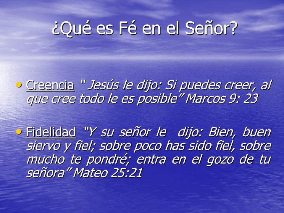 ¿Qué es Fé en el Señor? Creencia Jesús le dijo: Si puedes creer, al que cree todo le es posible Marcos 9: 23 Creencia Jesús le dijo: Si puedes creer,
