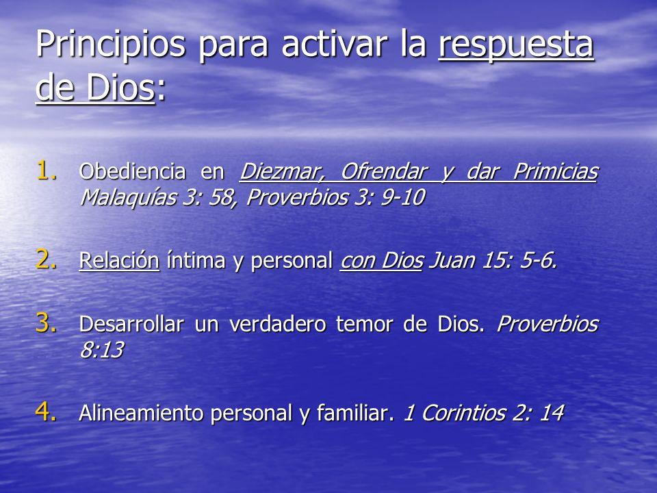 Principios para activar la respuesta de Dios: 1. Obediencia en Diezmar, Ofrendar y dar Primicias Malaquías 3: 58, Proverbios 3: 9-10 2. Relación íntim