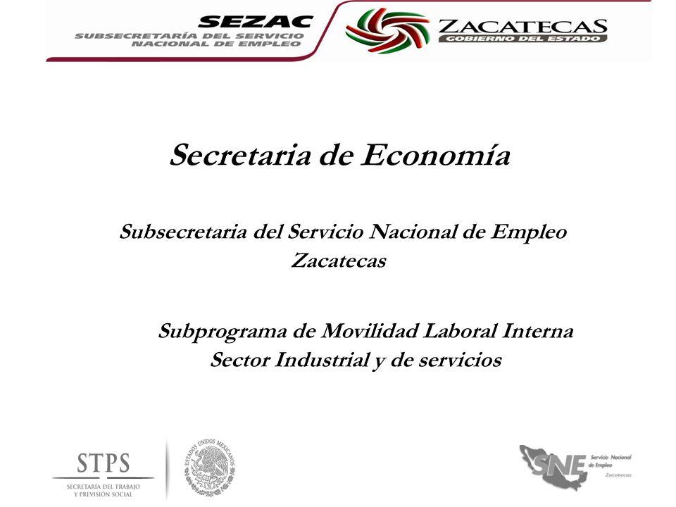Secretaria de Economía Subsecretaria del Servicio Nacional de Empleo Zacatecas Subprograma de Movilidad Laboral Interna Sector Industrial y de servici