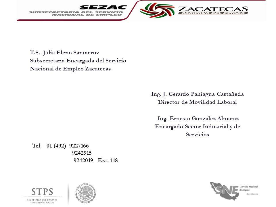 T.S. Julia Eleno Santacruz Subsecretaria Encargada del Servicio Nacional de Empleo Zacatecas Ing. J. Gerardo Paniagua Castañeda Director de Movilidad