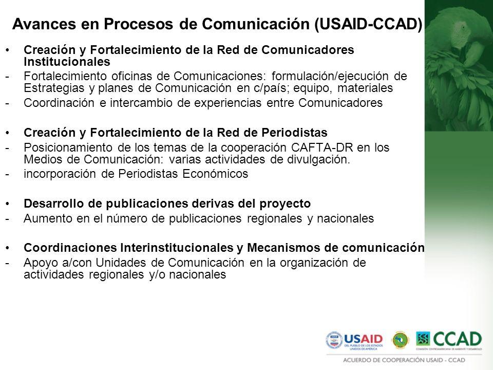Avances en Procesos de Comunicación (USAID-CCAD) Creación y Fortalecimiento de la Red de Comunicadores Institucionales -Fortalecimiento oficinas de Comunicaciones: formulación/ejecución de Estrategias y planes de Comunicación en c/país; equipo, materiales -Coordinación e intercambio de experiencias entre Comunicadores Creación y Fortalecimiento de la Red de Periodistas -Posicionamiento de los temas de la cooperación CAFTA-DR en los Medios de Comunicación: varias actividades de divulgación.