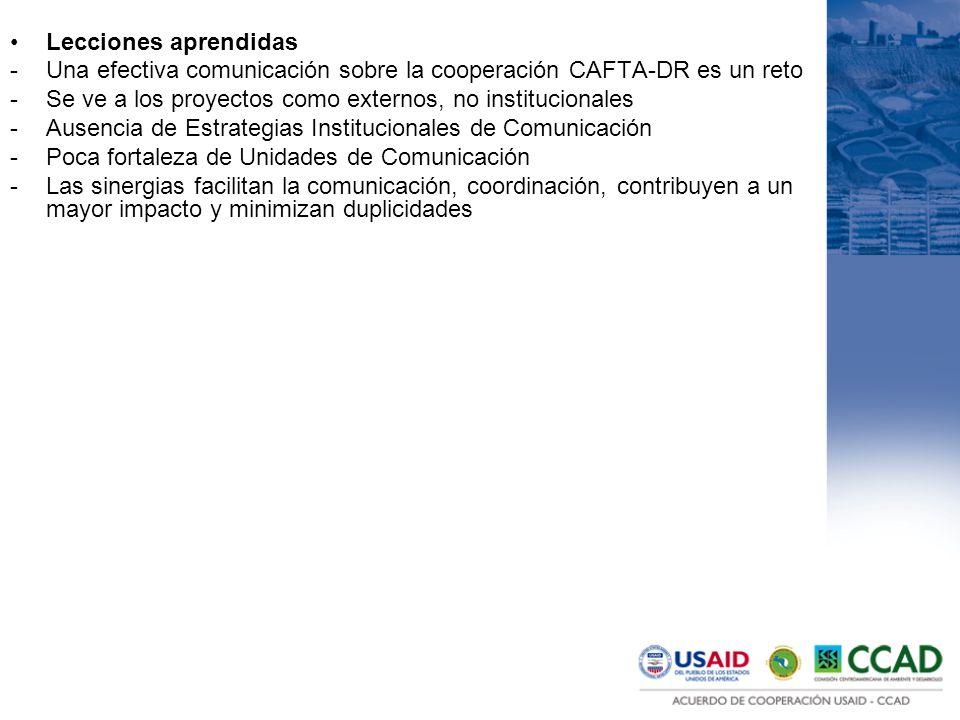 Lecciones aprendidas -Una efectiva comunicación sobre la cooperación CAFTA-DR es un reto -Se ve a los proyectos como externos, no institucionales -Ausencia de Estrategias Institucionales de Comunicación -Poca fortaleza de Unidades de Comunicación -Las sinergias facilitan la comunicación, coordinación, contribuyen a un mayor impacto y minimizan duplicidades