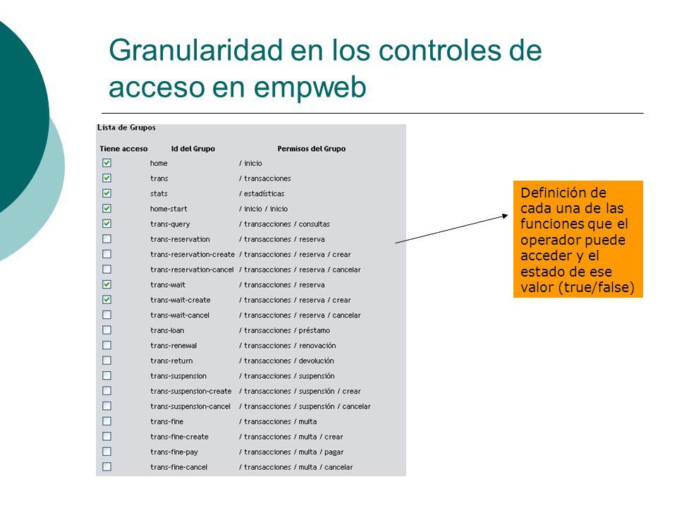 Granularidad en los controles de acceso en empweb Definición de cada una de las funciones que el operador puede acceder y el estado de ese valor (true