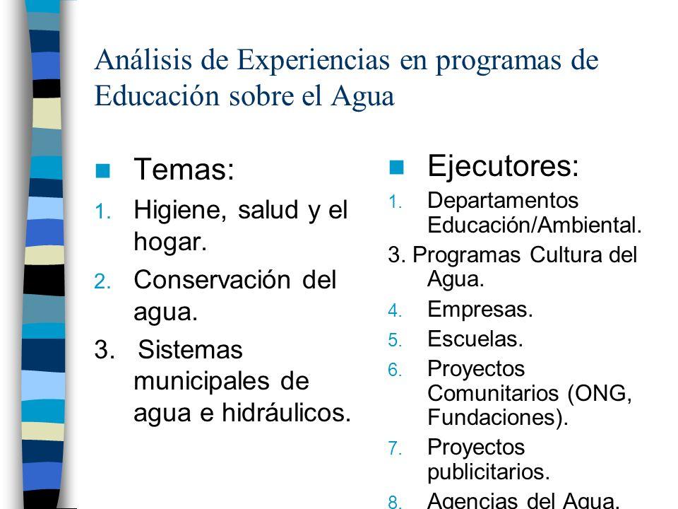 Análisis de Experiencias en programas de Educación sobre el Agua Temas: 1. Higiene, salud y el hogar. 2. Conservación del agua. 3. Sistemas municipale