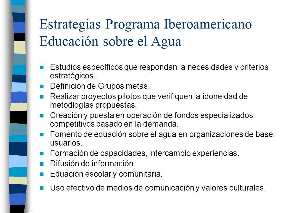 Estrategias Programa Iberoamericano Educación sobre el Agua Estudios específicos que respondan a necesidades y criterios estratégicos. Definición de G