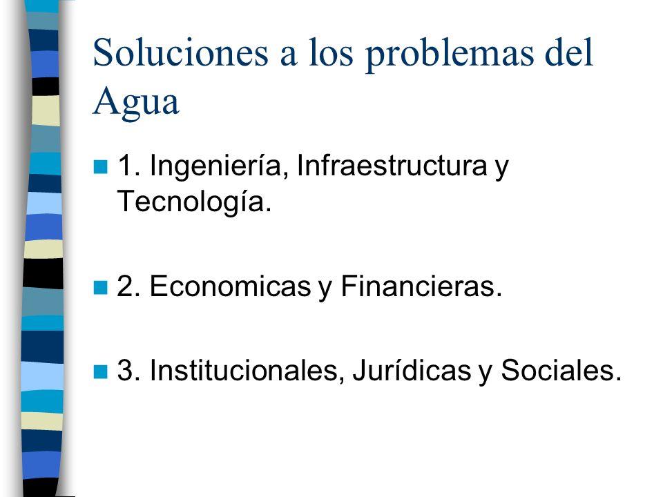 Soluciones a los problemas del Agua 1. Ingeniería, Infraestructura y Tecnología. 2. Economicas y Financieras. 3. Institucionales, Jurídicas y Sociales