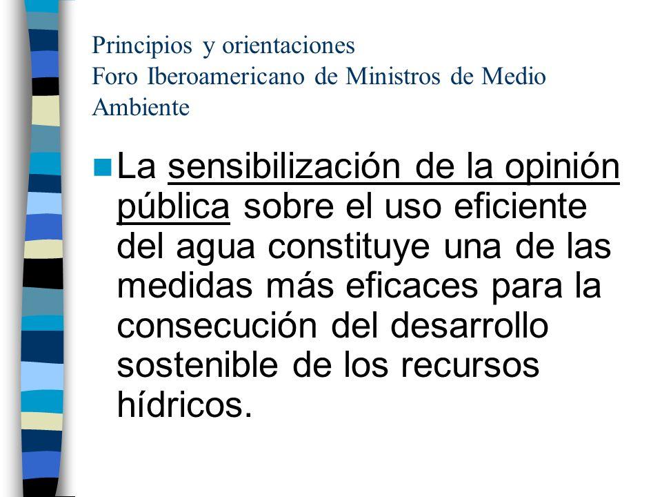 Principios y orientaciones Foro Iberoamericano de Ministros de Medio Ambiente La sensibilización de la opinión pública sobre el uso eficiente del agua