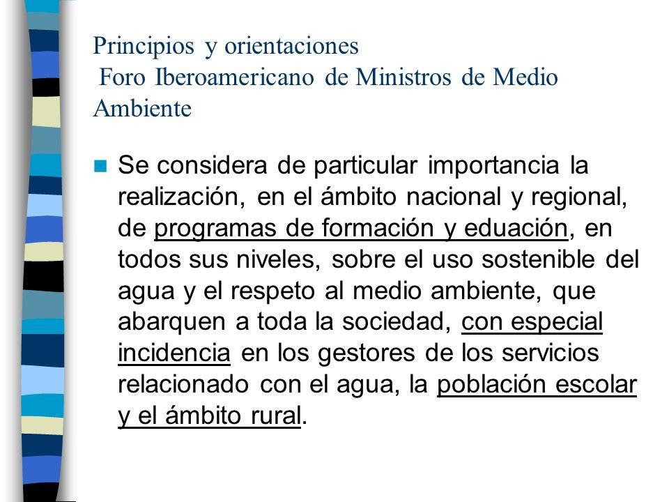 Principios y orientaciones Foro Iberoamericano de Ministros de Medio Ambiente Se considera de particular importancia la realización, en el ámbito naci