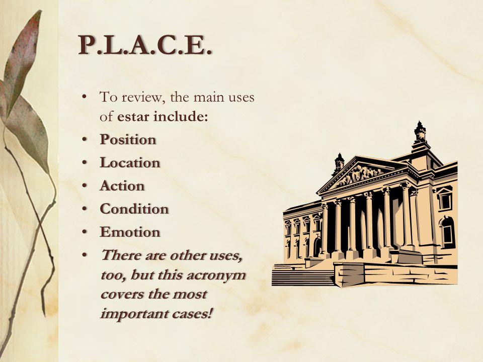 Emotion P.L.A.C.E.The last letter of P.L.A.C.E. stands for emotion. We use estar to talk about feelings and emotions. Alicia está enfadada. Lorenzo y