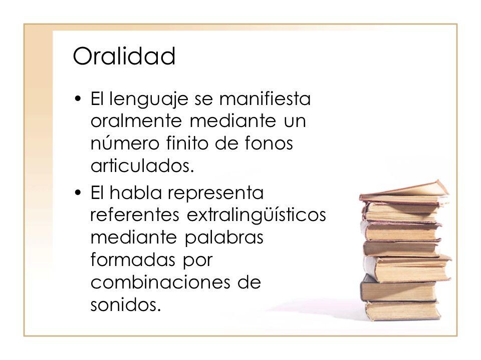 Oralidad El lenguaje se manifiesta oralmente mediante un número finito de fonos articulados. El habla representa referentes extralingüísticos mediante