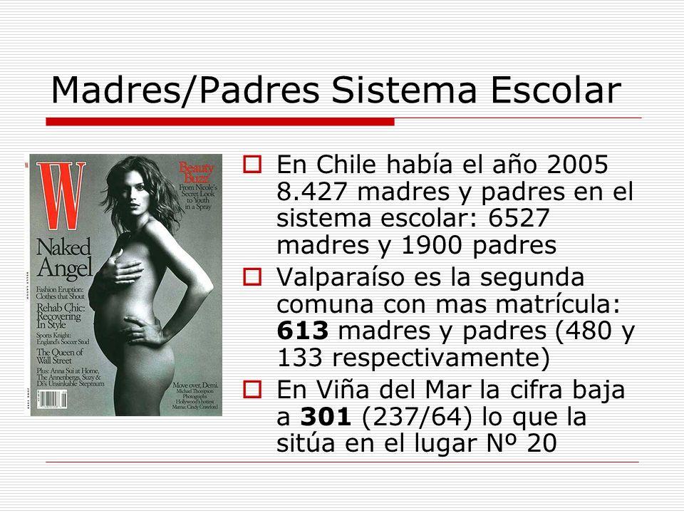 Madres/Padres Sistema Escolar En Chile había el año 2005 8.427 madres y padres en el sistema escolar: 6527 madres y 1900 padres Valparaíso es la segun