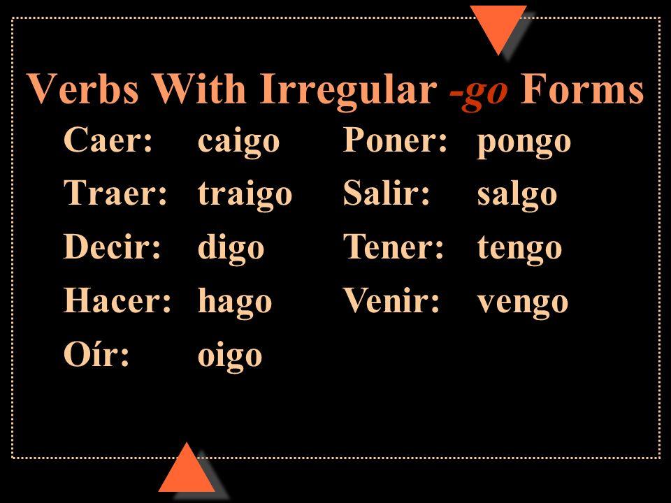 Verbs With Irregular Yo Forms u Remember that some verbs are irregular in the yo form in the present tense.