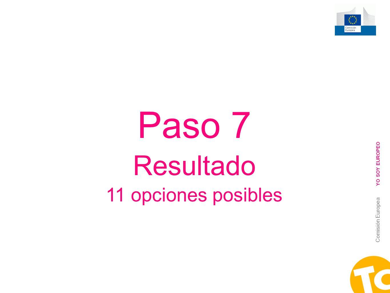 13 Comisión Europea YO SOY EUROPEO Paso 7 Resultado 11 opciones posibles