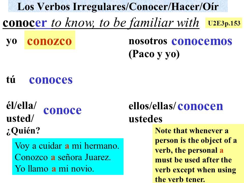 Los Verbos Irregulares/Conocer/Hacer/Oír yo tú él/ella/ usted/ ¿Quién? nosotros (Paco y yo) ellos/ellas/ ustedes Voy a cuidar a mi hermano. Conozco a