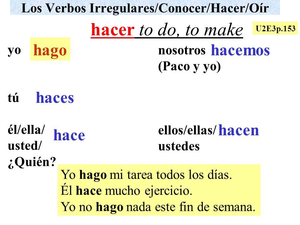 Los Verbos Irregulares/Conocer/Hacer/Oír yo tú él/ella/ usted/ ¿Quién? nosotros (Paco y yo) ellos/ellas/ ustedes Yo hago mi tarea todos los días. Él h