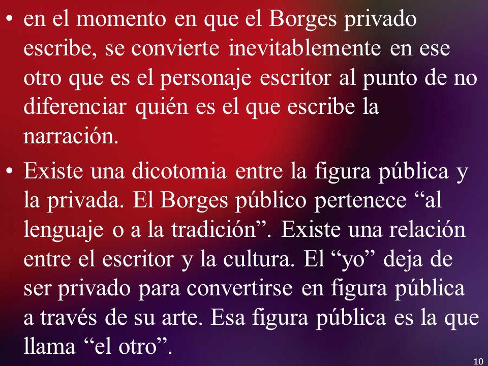 en el momento en que el Borges privado escribe, se convierte inevitablemente en ese otro que es el personaje escritor al punto de no diferenciar quién