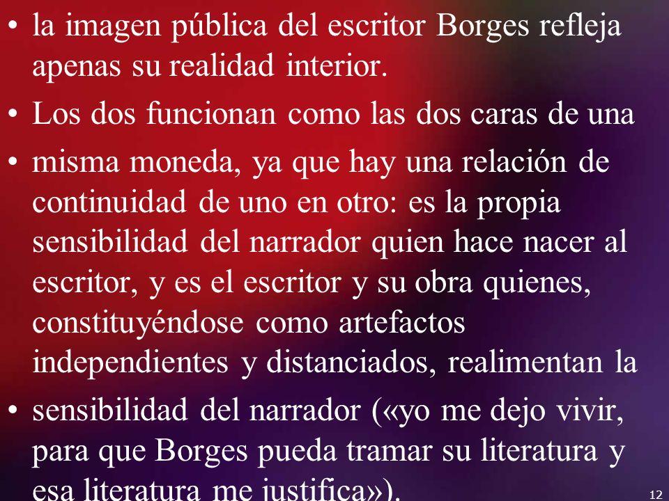 la imagen pública del escritor Borges refleja apenas su realidad interior. Los dos funcionan como las dos caras de una misma moneda, ya que hay una re
