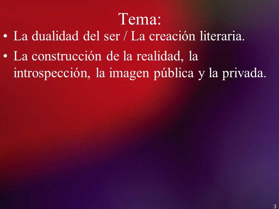 Tema: La dualidad del ser / La creación literaria. La construcción de la realidad, la introspección, la imagen pública y la privada. 3