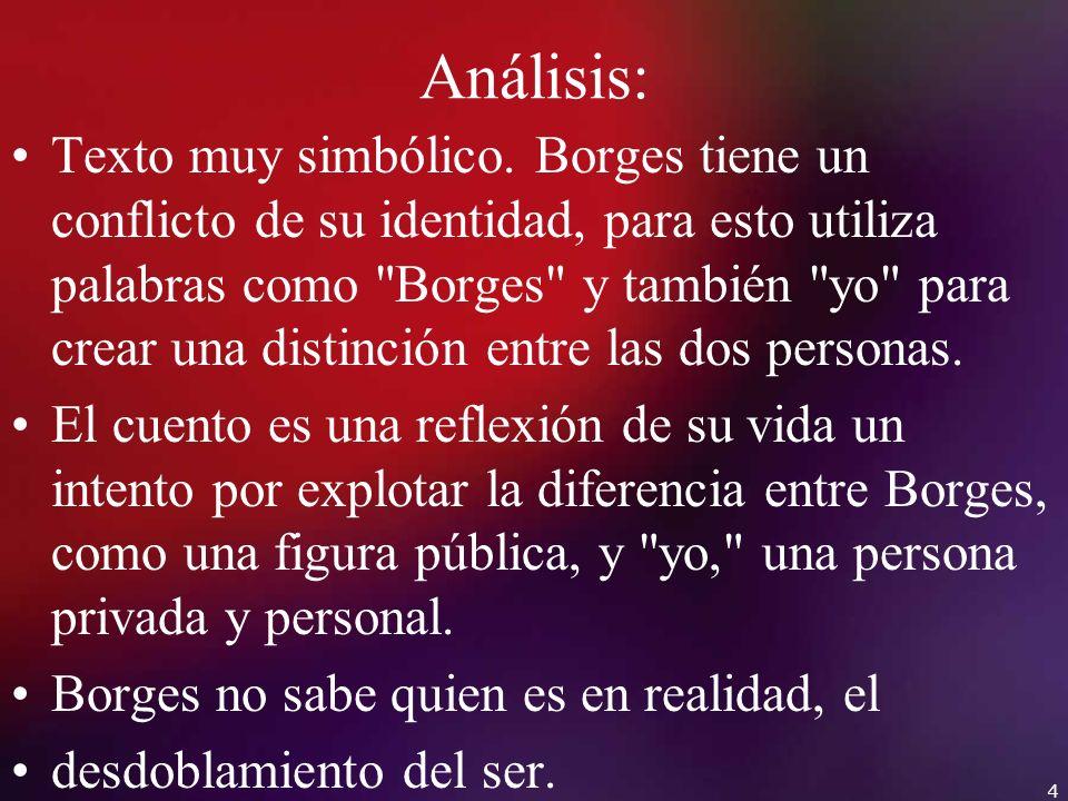 Análisis: Texto muy simbólico. Borges tiene un conflicto de su identidad, para esto utiliza palabras como