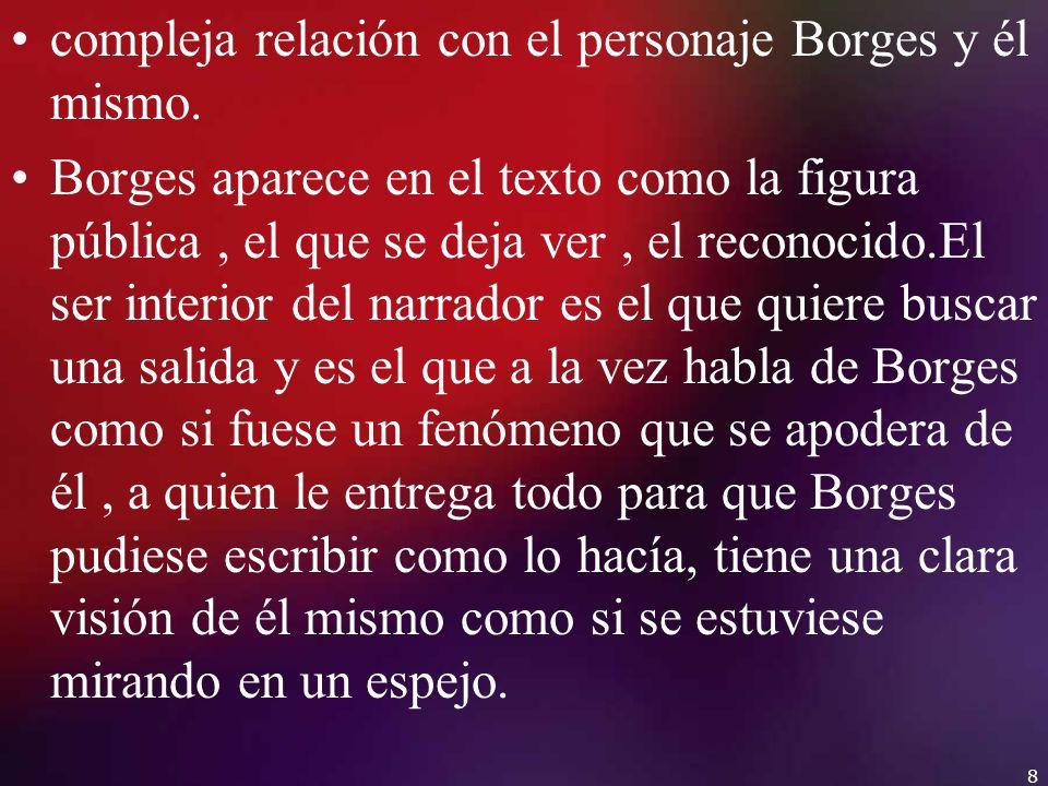compleja relación con el personaje Borges y él mismo. Borges aparece en el texto como la figura pública, el que se deja ver, el reconocido.El ser inte